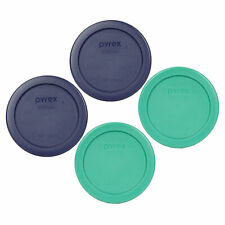 Pyrex 7202-PC Round 1 Cup (2) Green and (2) Blue Lid Covers (4-Pack)
