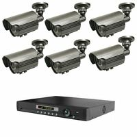 LONG RANGE WIRELESS SIX NIGHT VISION CCTV CAMERA SYSTEM W/ STAND ALONE DVR