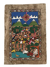 """Mexican Folk Art On Amate Bark Paper 8""""x11"""" Latin American Painting (f)"""