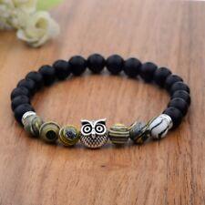 8mm Fashion Natural Brown Zebra Stone Silver Owl Beaded Stretch Bracelet Jewelry