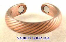 Antiqued Copper Stripes Magnetic Ring Adjustable Band R023