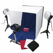 Polaroid Tabletop Photo Studio w/ 2 LED Lights and Stands, 4 Color, 3 Diffusers