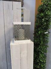 Windlicht aus Holz/Metall, ca 17 cm hoch grau  shabby chic mit Glaseinsatz NEU