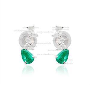 Genuine 1.28 TCW Pear Emerald Stud Earrings Diamond 18k White Gold Fine Jewelry