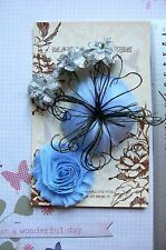 BLUE & SILVER Flower Feather 5 Flower Pk 35-80mm - for Facinator Manor House