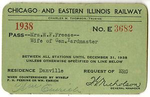 Chicago & Eastern Illinois Railway, 1938, #E3682, annual pass