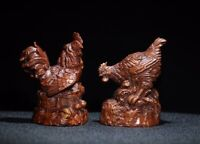 Collect Decor Exquisite Natural Boxwood carving pair of chicken Statue cock hen
