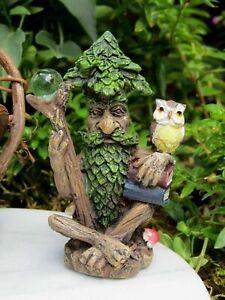 Miniature Dollhouse Fairy Garden Tree Wizard w/ Books, Orb & Owl - Buy 3 Save $5