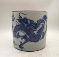 "7.7"" Chinese Ceramics Porcelain Blue-and-white Two Dragon Brush Pot Pencil Vase"