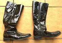 SALE Black ladys patent leather knee high boots double buckle Worn Used Preloved