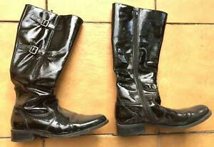 Black sexy ladys patent leather knee high boots double buckle Worn Used Preloved