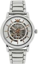 NEW EMPORIO ARMANI AR1980 Luigi Automatic Skeleton Mecanico Silver Men's Watch