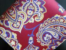 """US Seller New 10"""" 100% Silk Pocket Square Red Gold Blue Paisley"""