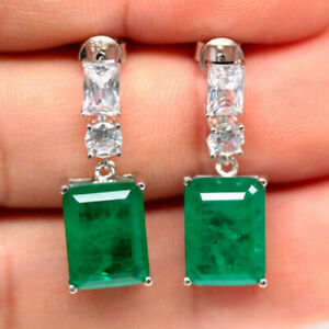 Earrings Green Emerald Doublet Genuine Natural Gems Solid Sterling Silver Dangle