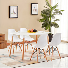 Rectangle Dining Table  And 4/6 White Eiffel DSW Retro Design Wood Style Chairs