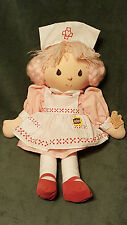 "HTF 1984 Applause Pink Nurse CLARA Doll Plush Toy With Tag 12"" Pink Hair Shoes"