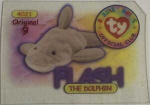 TY BEANIE BABY BBOC Card Series 1 Original 9 Red FLASH the Dolphin Style 4021 NM