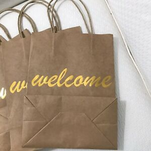 Brown Paper Gift Bags Welcome Party Favor Gold
