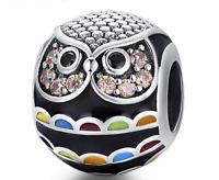33c0770c5c Graduation Wise Enamel CZ Crystal Owl Charm S925 Sterling Silver + Pandora  Pouch