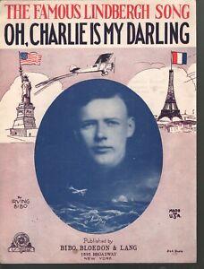 Oh Charlie is My Darling 1927 Lindbergh Sheet Music