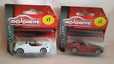 MAJORETTE X2 NEW OUT MODELS A WHITE  ALFA AND A METALLIC RED MERCEDES SLS,MIB.