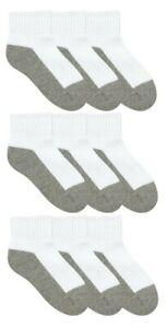 Jefferies Socks Boys 9-Pack Toe Quarter Athletic Socks White/Grey Size S 11249