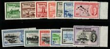 More details for turks & caicos is. sg221/33 1950 defintive set mnh