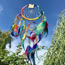 New Rainbow Bead Dream Catcher Native American Wall Hanging Mobile Retro Hippy