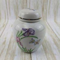 "Vintage Butterfly Ginger Jar Vase with Lid 4.5"" Transferware Gold Trim Embossed"