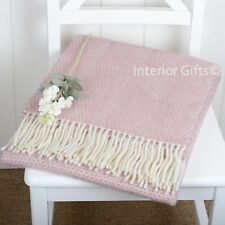 KNEE RUG / SMALL THROW Pure New Wool DUSKY PINK HONEYCOMB Chair Blanket Rug GIFT