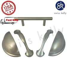 Swiss Kelly Hardware Satin Nickel Brushed Kitchen Cabinet Handles Drawer Pulls