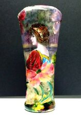 French Limoge Art Nouveau Enameled Copper Portrait Vase signed BORVAL ca. 1900