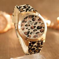 Fashion Women Geneva Leopard Silicone Jelly Gel Quartz Analog Wrist Watch