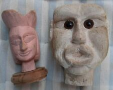 Lot of two antique Italian marionette heads