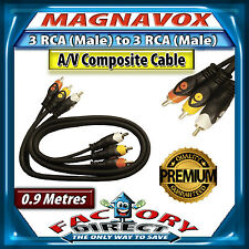 0.9 Metre Magnavox 3RCA to 3RCA Audio/ Video Composite Cable Lead Heavy Duty