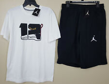 "NIKE JORDAN XII 12 ""PLAYOFFS"" OUTFIT SHIRT +SHORTS WHITE BLACK NEW (SIZE MEDIUM)"
