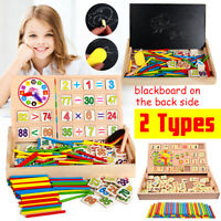 Wooden Number Mathematics Early Learning Math Educational Kids Toy Clock Xmas