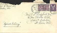 USA 1942 COVER, VIA CHICAGO DECATUR & ST LOUIS RAIL ROAD & SPECIAL DELIVERY #17