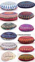 Indian Mandala Print Floor Pillow Throw Case Round Boho Cushion Cover Case Gift