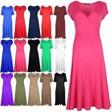 Womens Ladies Pleated Dress Plain V Neck Front Wrap Flared Franki Skater Dress