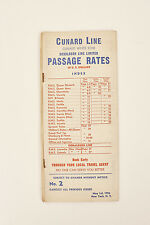 Cunard Line White Star Donaldson Line Limited Passage Rates in U.S. Dollars 1956
