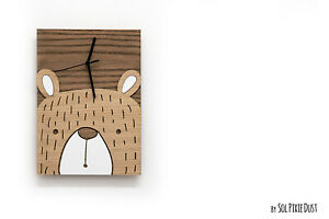 Cute Teddy Wooden and Acrylic Wall Clock - Kids Nursery Room - Teens, Baby Room