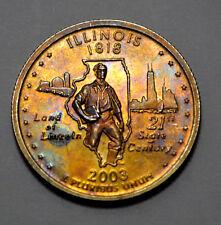 TONED 2003-S 25C DC PROOF ILLINOIS 90% SILVER WASHINGTON QUARTER, UNC,25c !
