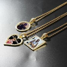 Personalized Photo Memory Necklace Medallion Square Round Heart Pendant Hip Hop