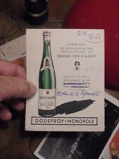 Ancienne Carte Publicitaire Vin d'Alsace Gewurztraminer Godefroy Monopole