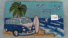 Blue Kombi Beach Scene - Natural Coir on PVC Backing Door Mat / Wall Art