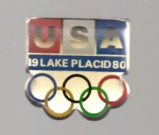 1980 USA Lake Placid Olympic Pin Rings Red White Blue 1
