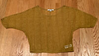 Forever 21 Womens Mustard Yellow Dolman Batwing Sleeve Lace Shirt Size Small