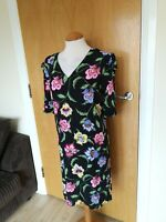 Ladies Dress Size 14 TU Black Floral Smart Party Evening Ruched Sleeves