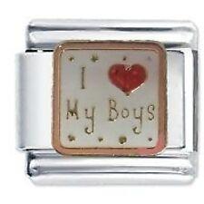 I LOVE (HEART) MY BOYS - Daisy Charms Fits Classic Size Italian Charm Bracelet